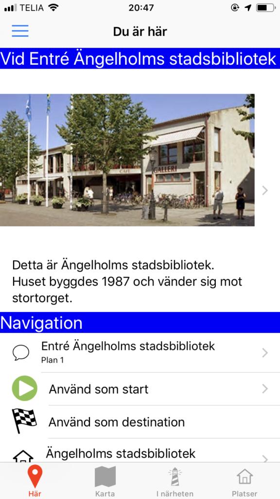 Bilden visar Här-vyn i appen med information om entrén till Ängelholms stadsbibliotek.